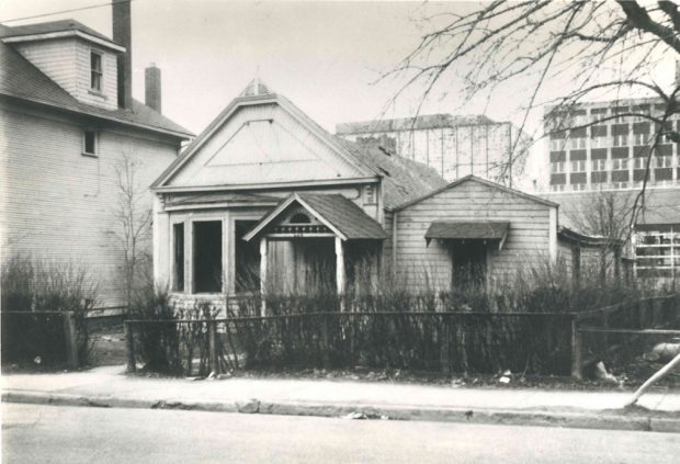 The original family home of Isabella and James Lougheed that had been located on 8th Avenue. They had the bay window added.