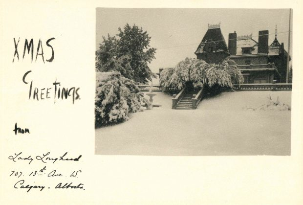 Image of a Christmas card, with a photo of Beaulieu in the snow.
