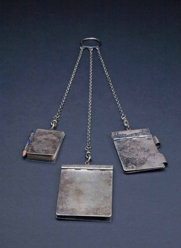 Belle's silver chatelaine - three tiny notebooks and pencil on silver chains