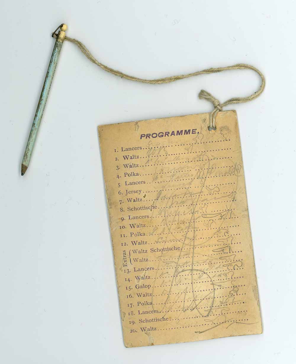 Dance card with pencil attached