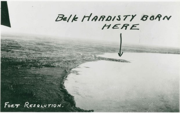 Aerial photo of Fort Resolution with hand written addition in black pen saying Belle Hardisty born here with an arrow