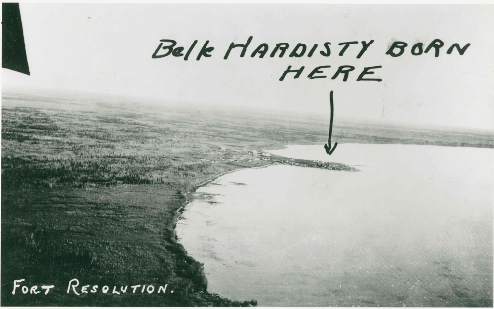 """Aerial photo of Fort Resolution with hand written addition in black pen saying """"Belle Hardisty born here"""" with an arrow"""