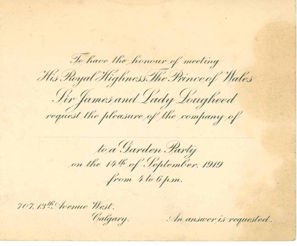 Invite to the Garden Party at Beaulieu with the Prince of Wales