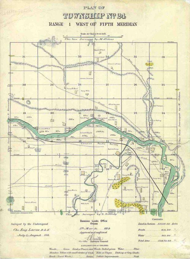 Map of Calgary, 1883