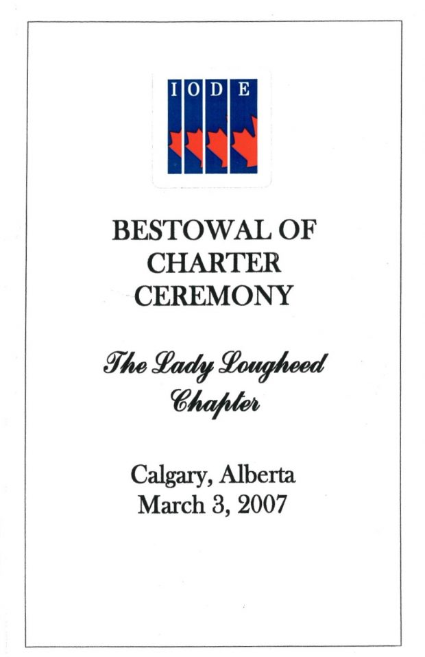 Cover of Brochure from the 'Bestowal of Charter Ceremony' for the Lady Lougheed Chapter of the IODE