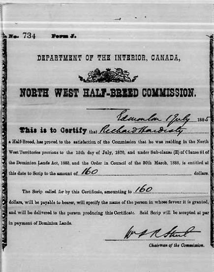 Demande de certificat de Métis de Richard Hardisty