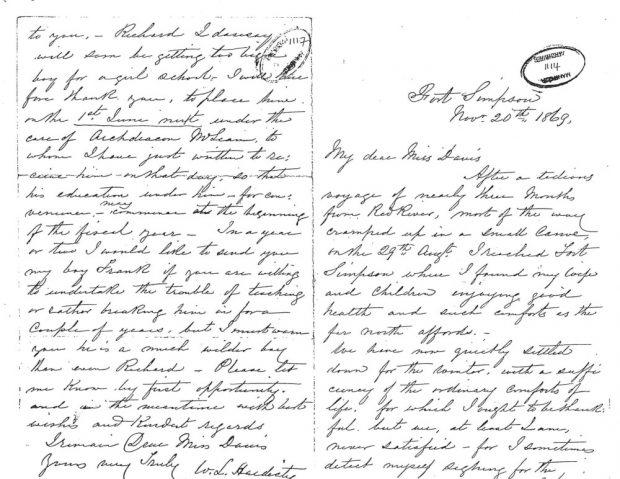 Handwritten letter from William Hardisty to Miss Davis
