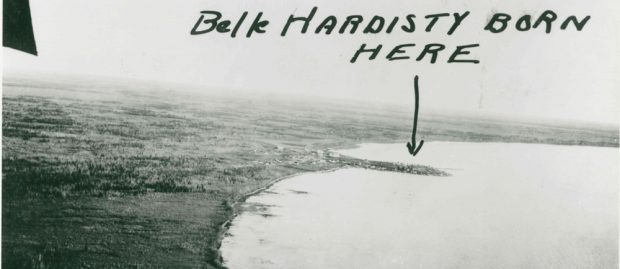 Aerial view of Fort Resolution with hand written text added that says Belle Hardisty born here.
