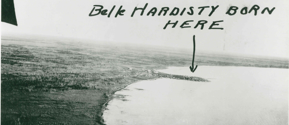 """Aerial view of Fort Resolution with hand written text added that says """"Belle Hardisty born here""""."""