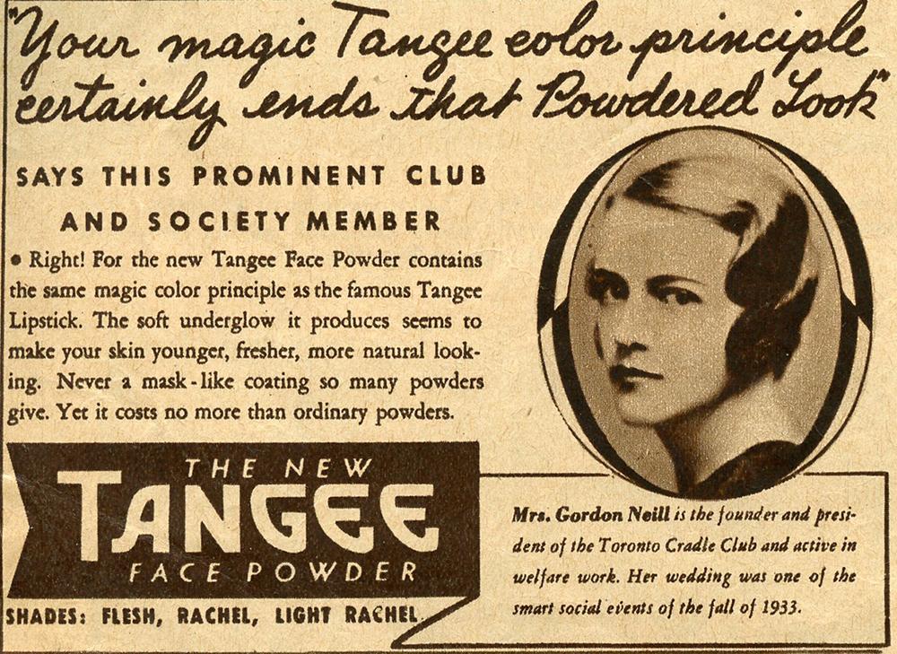 Coupure publicitaire avec photo de Mme Gordon Neill et texte promotionnel.