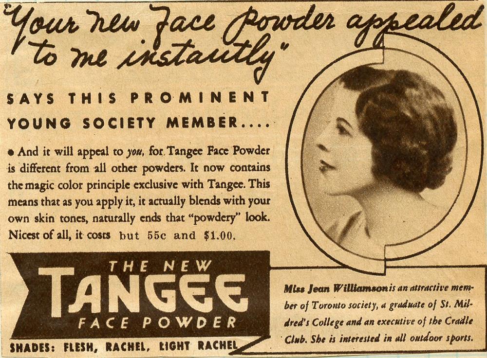 Coupure publicitaire avec photo de Mlle Jean Williamson de profil et une description du produit.