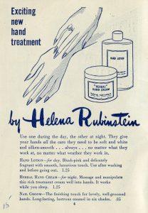 Annonce illustrée pour une crème pour les mains. Gros plan des mains aux ongles peints et deux flacons de crème.