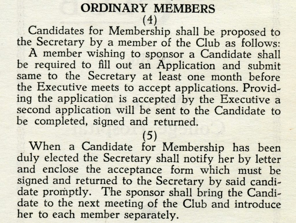 Newsprint clipping detailing the application process for new members.