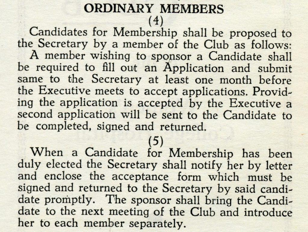 Coupure en papier de journal expliquant le processus de demande d'adhésion aux nouveaux membres.