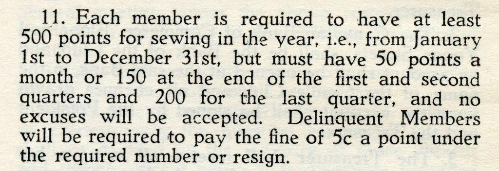 Coupure expliquant que les membres devaient accumuler au moins 500 points dans l'année. Celles qui n'atteignaient pas cette cible devaient payer 5 cents par point manquant ou démissionner du club.