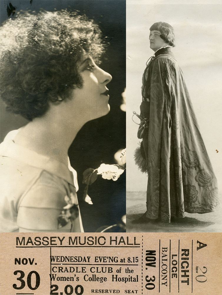 Memorabilia from the Cradle Club's fundraising concert at Massey Music Hall in November 1932 including two photos, one of Canadian soprano Jeanne Mignolet, the other of French Canadian tenor George Dufresne, and a ticket stub.