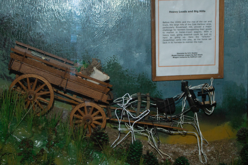 A model of a breeching horse with a wagon