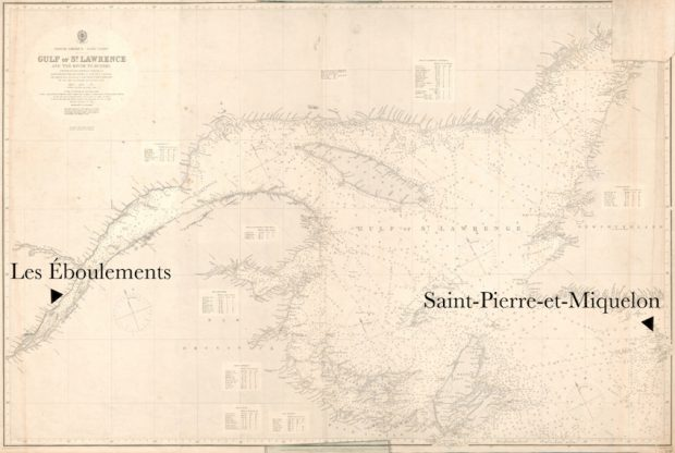 Map of the St. Lawrence River and Gulf. To the left, an arrow pointing at the village of Les Éboulements To the far right, another arrow pointing at the archipelago of Saint Pierre and Miquelon.