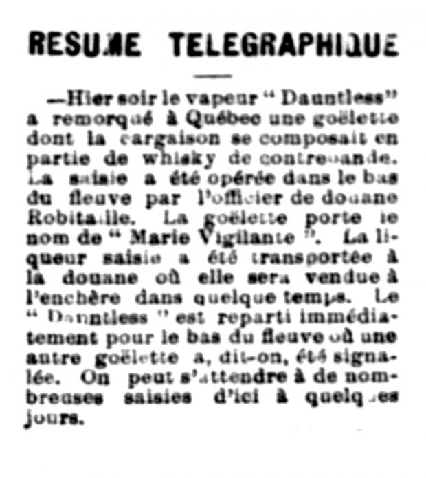 Newspaper article citing the seizure of the Marie-Vigilante. The schooner was transporting an illegal shipment of whisky.