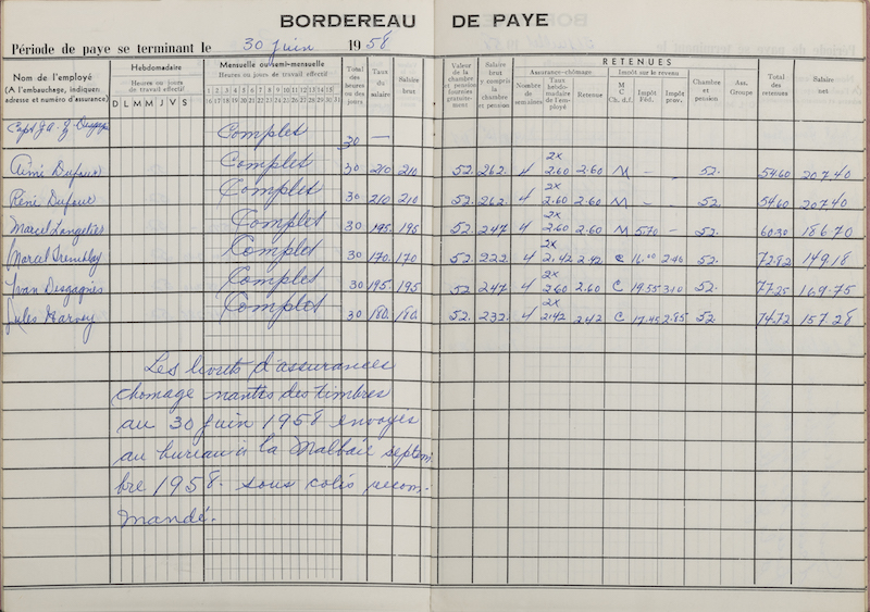 A pay slip belonging to Captain J.A.Z. Desgagnés and his six crew members. The document is a booklet that opens on a double page of squared paper. Each crew member's information is hand-written in blue. There is a note written over the unemployment insurance stamps at the bottom of the left page.