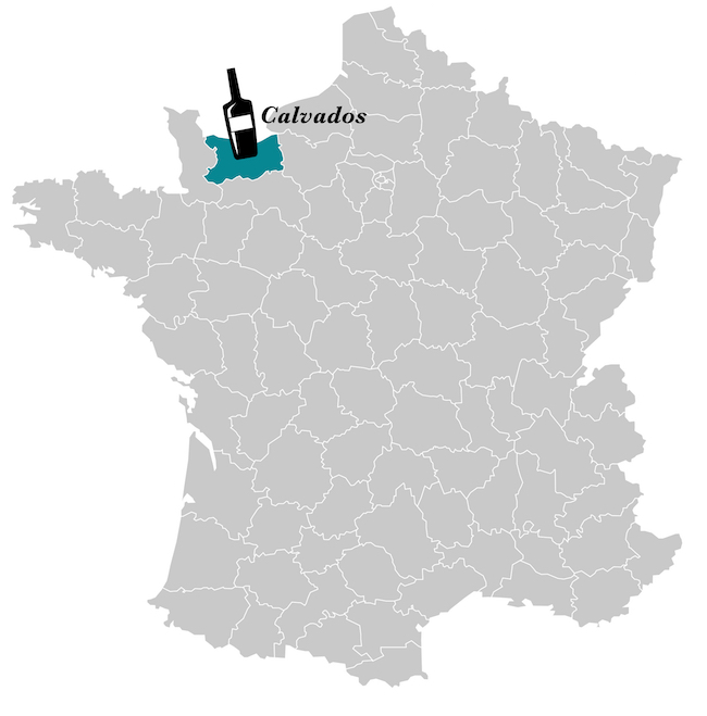 Map of France The map is grey, with the department of Calvados highlighted in green. A small black and white pictogram of a bottle of Calvados completes the picture.