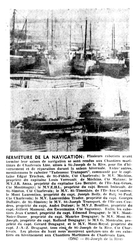 A newspaper article about the wintering of several ships at the Chantiers maritimes de Charlevoix shipyards. The header features two photographs showing several schooners lined up on the shores of the shipyards.
