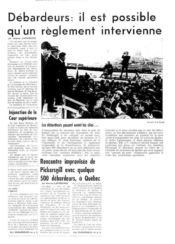 The picture shows a page from a newspaper on which are printed a photograph and an article about the longshoremen's strike. On the picture, we see a crowd of protesters in front of three men standing on a stage.