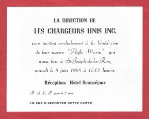 Invitation to the blessing ceremony of a ship. The date, time and place of the reception are written on the card. The card is white with black lettering and laid on a red backdrop.
