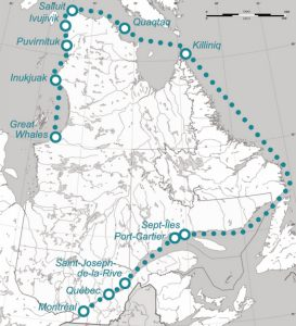 Geographical map of Quebec featuring the route of l'Aigle d'Océan's 1966 voyage. Various cities and towns are highlighted on the map of the St. Lawrence, the coast of Labrador and Ungava Bay, for example Montreal (city of departure), Joseph-de-la-Rive, Sept-Îles, Salluit and Great Whales. The map is grey and white, with the route as a dotted green line.