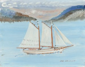 A naïve painting of a sailboat on a calm sea. The schooner and its sails are white. The sea is blue and the sky has greyish and pinkish hues.