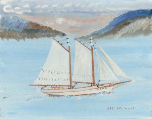 Une peinture, de facture naïve, présente un bateau à voiles sur une mer calme. La goélette et ses voiles sont blanches. L'eau est bleue, le ciel a des teintes grises et roses.