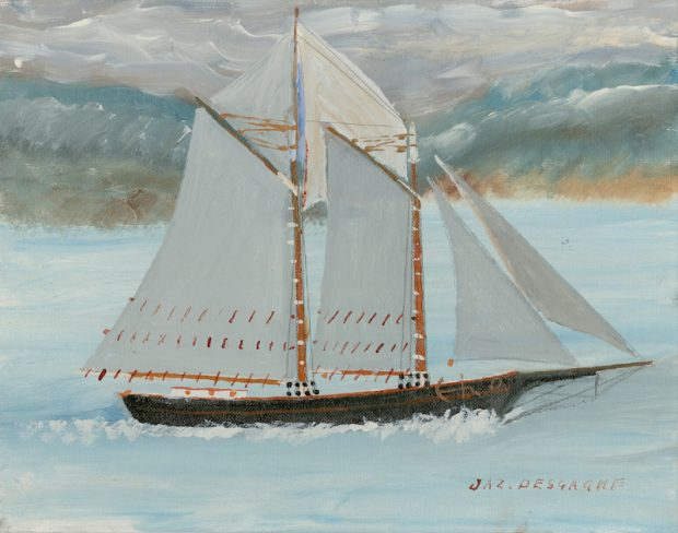 A naïve painting of a sailboat on a calm sea. The schooner's hold is black, its sails are white. The sea is blue with a greyish sky.