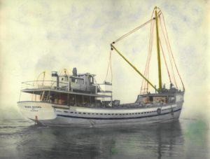 The Mont Royal schooner, floating on the water. The cabin in the back is clearly visible, as well as the ship's masts in the front. The picture looks like a colourized photograph.
