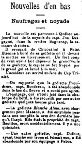A newspaper article about the drowning death of Captain Joseph Desgagnés in the waters of the Saguenay River.