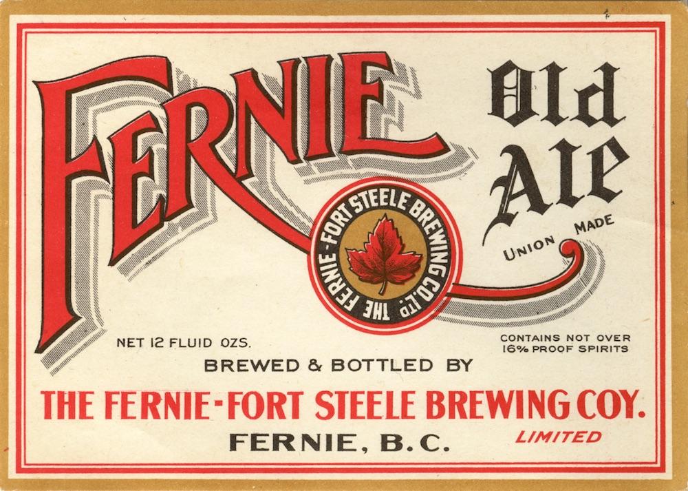 Label for a beer bottle; Fernie Old Ale.