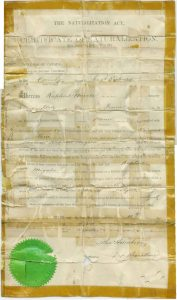 Archival document, immigration record, yellowed with age.