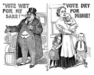 Newspaper cartoon showing a fat man in a morning suit and top hat on the left and a woman with two children standing beside her and holding a baby.