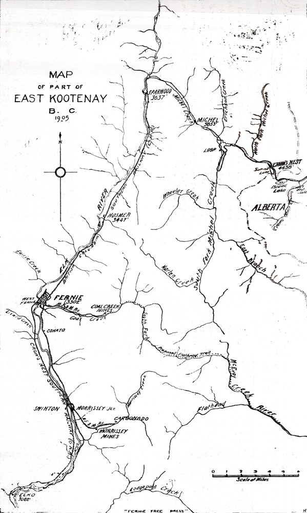 Map showing communities, rivers, railway and roads.