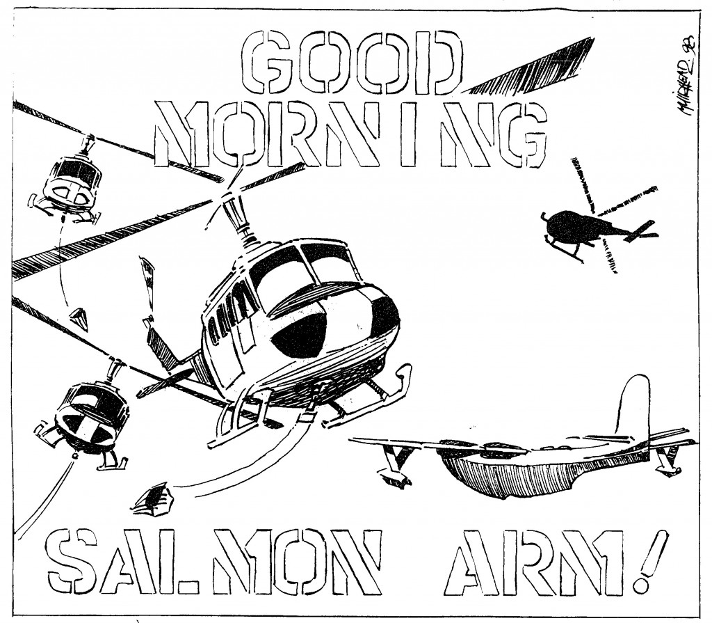 Cartoon of helicopters and aeroplanes flying.