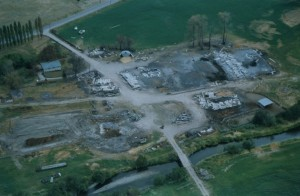 Aerial photo of farm destroyed by fire.