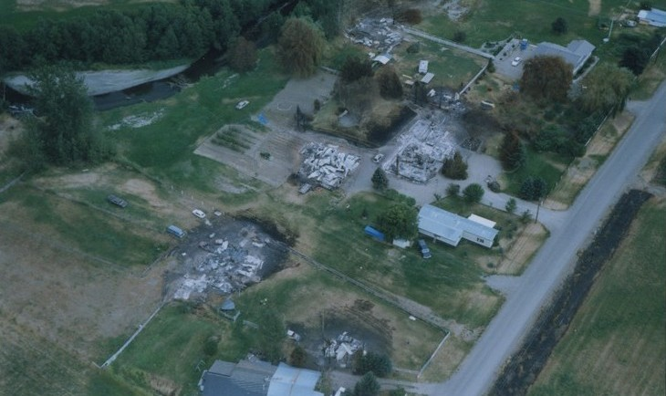 Aerial view of homes destroyed by fire.
