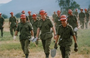 18 soldiers wearing hard hats and gloves carrying shovels, walking in grass.
