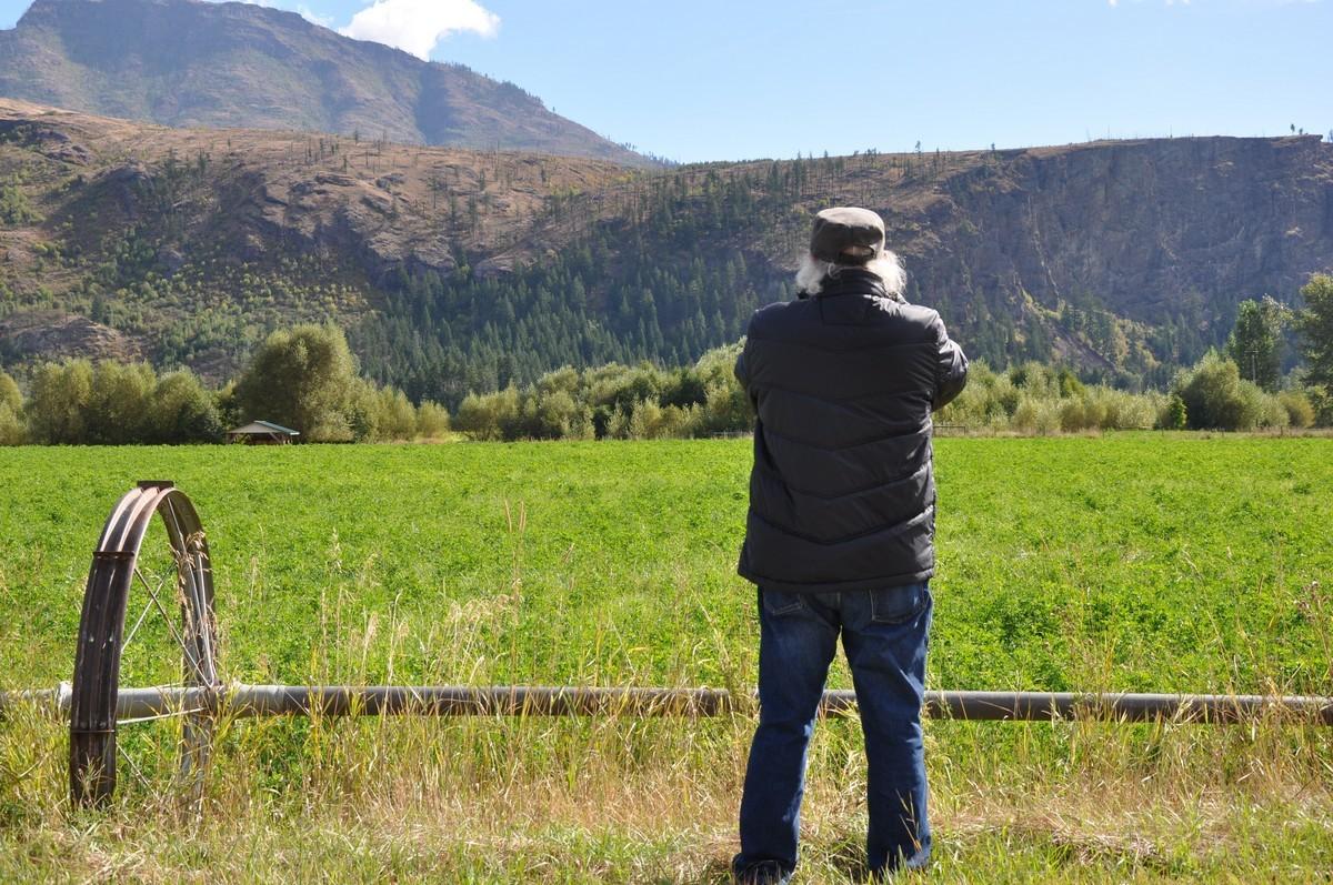 Homme devant un champ. Collines en arrière-plan.