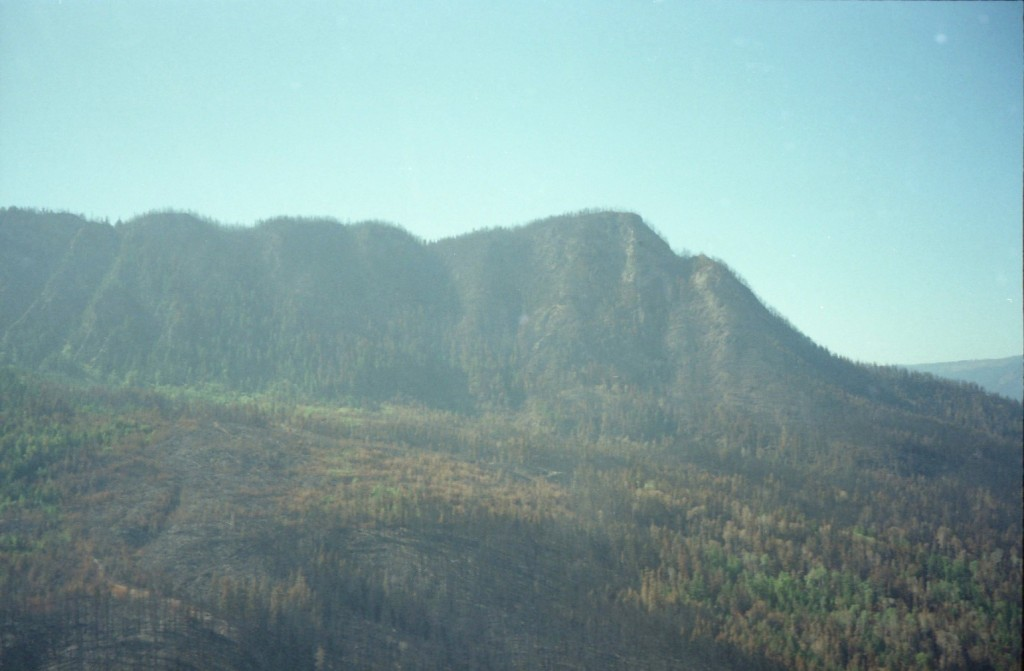 View of mountain after forest fire is out.