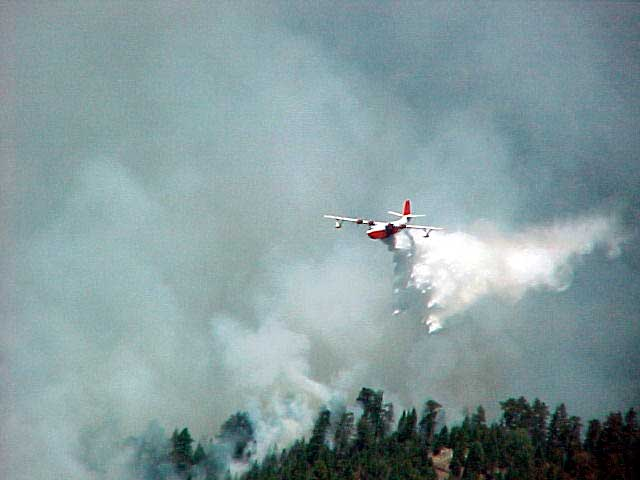 Aeorplane dropping fire retardant on a forest fire.