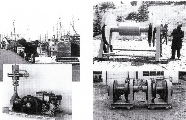 A group of black and white photos showing a fishing fleet tied up at the wharf, a large round winch well over 15 feet high, a make and break engine and two smaller winches with platforms that would bolt them to the deck of the vessel. These are often referred to as gurdy haulers.