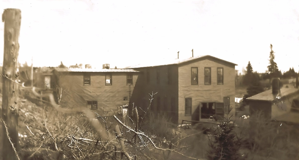 A sepia toned photo of the Haboldt Gas Engines showing the main two storey building on North Street to the left and the machine and fabrication building attached to it which dropped steeply down to the edge of the stream. A separate building to the right and in the foreground housed the foundry before it was replaced with a new dome roofed building.
