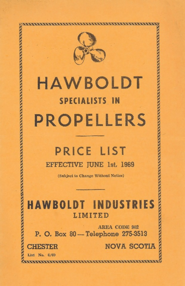 A yellow booklet cover featuring a drawing of a propeller with black printing advertising Hawboldt Industries Limited , as specialists in propellers with a price list for June 1st 1969.