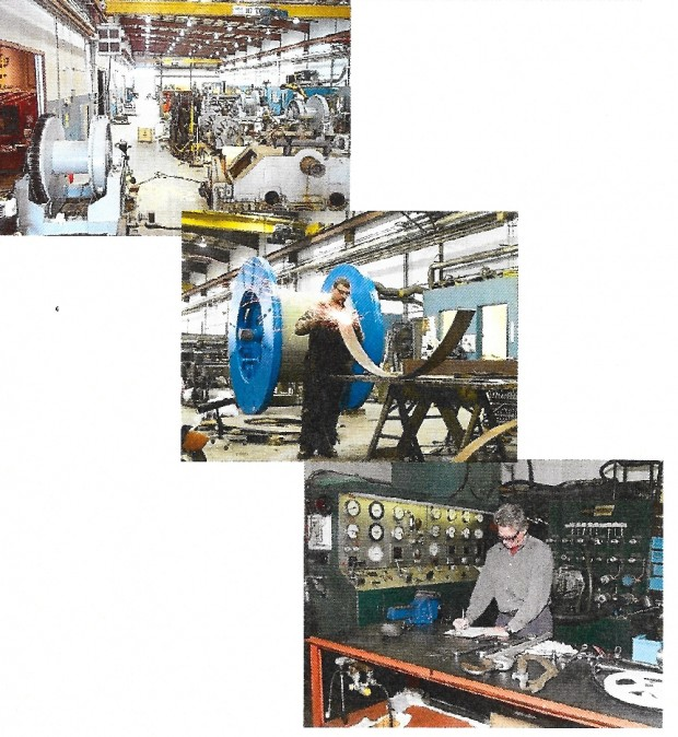 The colour photo show three scenes from the interior of Hawboldt Industries today. The top picture shows the main work area and the equipment they use, the second picture pictures a worker welding a piece of metal at a work station and the final photo shows a worker standing at a desk, in front of a bank of dials working on a project design.