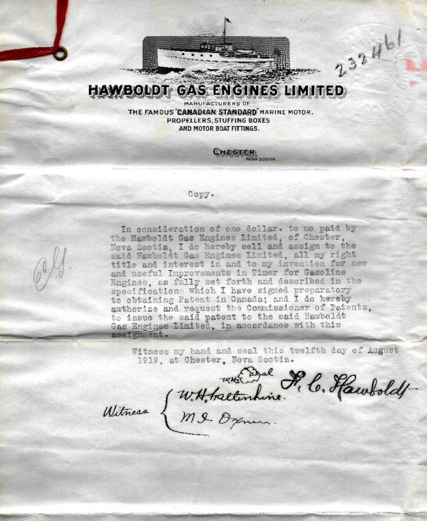 A scanned copy of the agreement assigning the rights for the useful improvement in timer for the new gasoline engine to Hawboldt Industries Ltd. By Forman Hawboldt August 12, 1919.